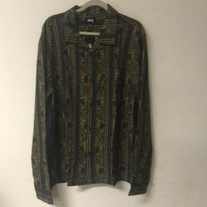 Stussy Shirt Size XXL Long Sleeve Olive PaisleyNWT